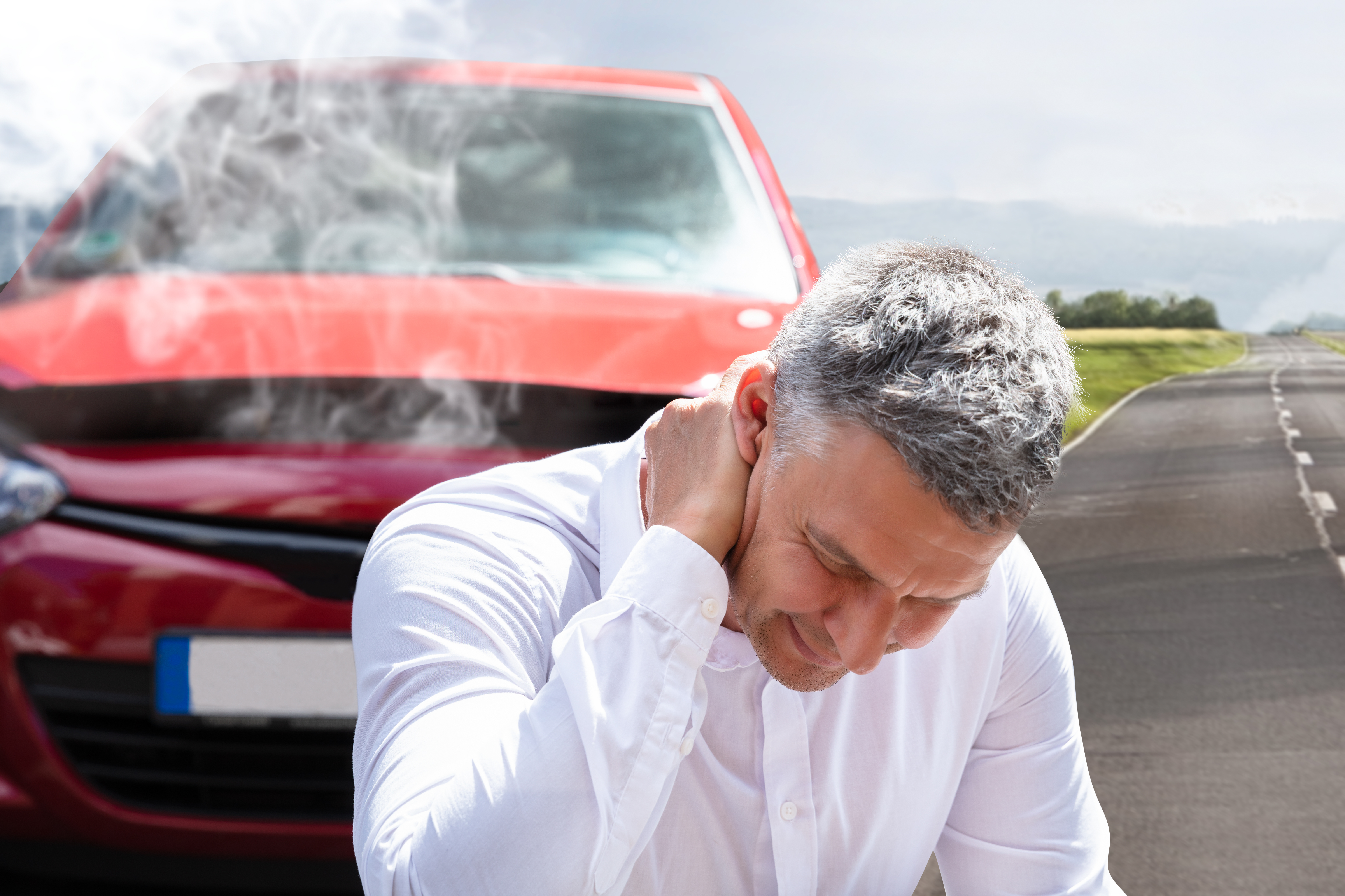 Close-up Of A Mature Man Suffering From Neck Pain In Front Of Breakdown Car